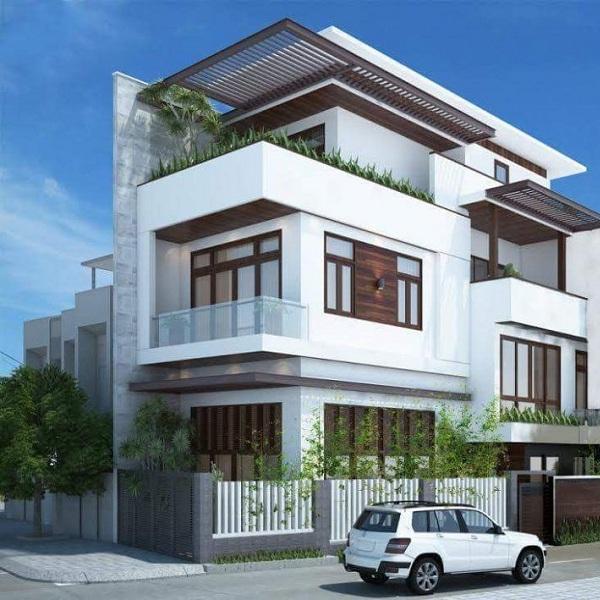 thiết kế kiến trúc nhà phố 2 mặt tiền