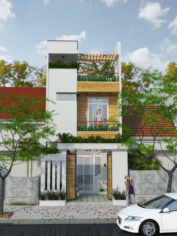 thiết kế kiến trúc nhà phố 2 tầng