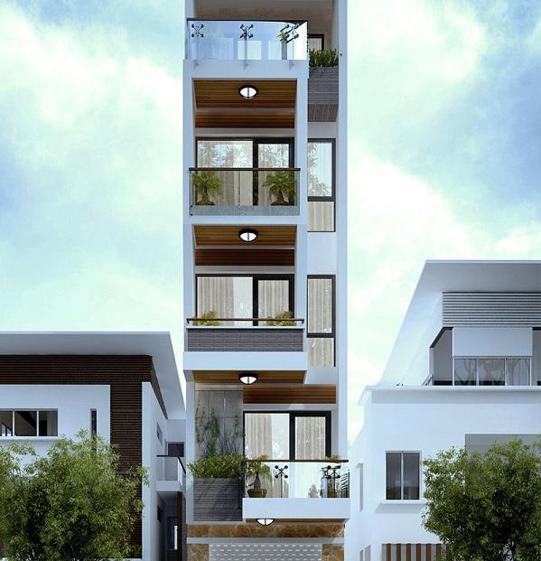 thiết kế kiến trúc nhà phố 5 tầng
