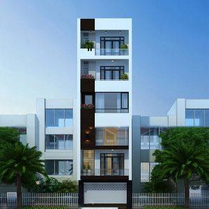 thiết kế kiến trúc nhà phố 6 tầng
