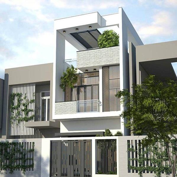 thiết kế kiến trúc nhà phố hiện đại lệch tầng