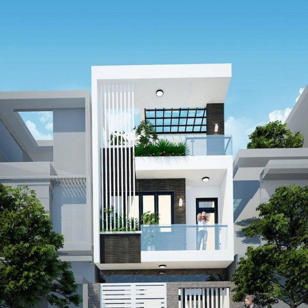 thiết kế kiến trúc nhà phố mái bằng