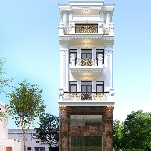 Thiết kế kiến trúc nhà phố tân cổ điển 4 tầng